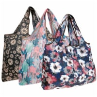 Wrapables Large Nylon Reusable Shopping Bags (Set of 3), Cacti, Floral, Poppies - 3 Pieces