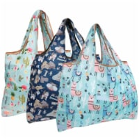 Wrapables Large Nylon Reusable Shopping Bags (Set of 3), Flamingoes, Dogs, Llamas - 3 Pieces