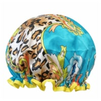Wrapables Reusable Women's Waterproof Shower Caps for Long Hair, Wild Floral - 1