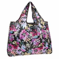 Wrapables Large Nylon Reusable Shopping Bag, Violet Flowers - 1
