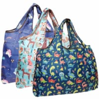 Wrapables Large Nylon Reusable Shopping Bags (Set of 3), Amazing Animals - 3 Pieces