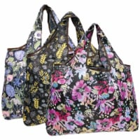Wrapables Large Nylon Reusable Shopping Bags (Set of 3), Spring Bouquet - 3 Pieces