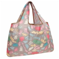 Wrapables Large Nylon Reusable Shopping Bag, Colorful Doodles - 1