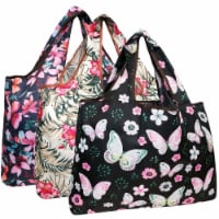 Wrapables Large Nylon Reusable Shopping Bags (Set of 3), Tropical Beauty - 3 Pieces
