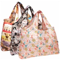 Wrapables Large Nylon Reusable Shopping Bags (Set of 3), Cuddly Critters - 3 Pieces
