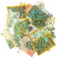 Wrapables Decorative Scrapbooking Washi Stickers for DIY Crafts (60 pcs), Green & Gold - 1