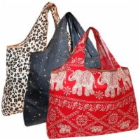 Wrapables Large Nylon Reusable Shopping Bags (Set of 3), Wild Life - 3 Pieces