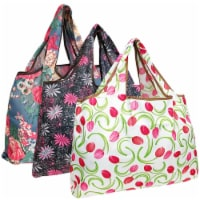 Wrapables Large Nylon Reusable Shopping Bags (Set of 3), Floral Delight - 3 Pieces