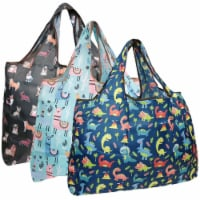 Wrapables Large Nylon Reusable Shopping Bags (Set of 3), Charming Animals - 3 Pieces