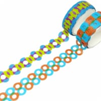 Wrapables Geometric Hollow Washi Masking Tape 4M Length Total (Set of 2), Circle & Bubbles - 2 pieces
