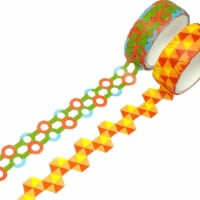 Wrapables Geometric Hollow Washi Masking Tape 4M Length Total (Set of 2), Hexagon & Bubbles - 2 pieces