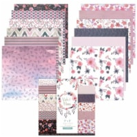 Wrapables 6x6 Decorative Single-Sided Scrapbook Paper, Purple Floral Theme - 24 sheets
