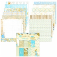 Wrapables 6x6 Decorative Single-Sided Scrapbook Paper, Blue & Brown Floral Theme - 24 sheets