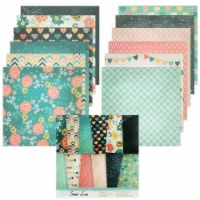 Wrapables 6x6 Decorative Single-Sided Scrapbook Paper, Green Hearts Theme - 24 sheets