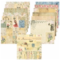 Wrapables 6x6 Decorative Single-Sided Scrapbook Paper, Vintage Butterflies & Floral Theme - 24 sheets