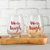 Kate Aspen 30023NA-WILA 15 oz Wine a Little Laugh & Lot Stemless Wine Glass - Set of 4 - 1