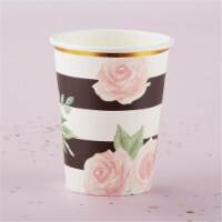 Kate Aspen 28446NA 8 oz Floral Striped Paper Cups, Set of 8 - 1
