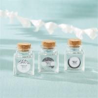 Kate Aspen 27084NA-SFG Petite Treat Square Glass Favor Jar - Silver Foil, Set of 12