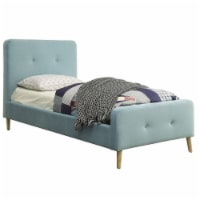 Furniture of America Celia Twin Tufted Fabric Platform Bed in Light Blue - 1