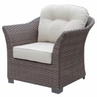 Furniture of America Hampton Wicker Patio Arm Chair in Dark Brown