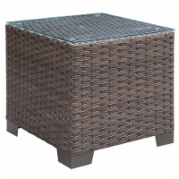 Condor Glass Top Patio End Table in Brown - Furniture of America