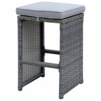 Furniture of America Zuni 29-Inch Rattan Patio Bar Stool in Gray (Set of 6)