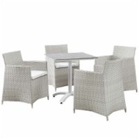 Junction 5 Piece Outdoor Patio Dining Set - Gray White - 1