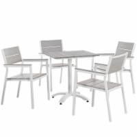 Maine 5 Piece Outdoor Patio Dining Set - White Light Gray - 1