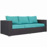 Convene Outdoor Patio Sofa - Espresso Turquoise