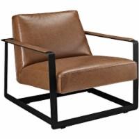 Seg Upholstered Vinyl Accent Chair - Brown - 1