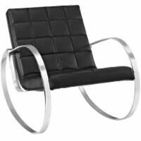 Gravitas Upholstered Vinyl Lounge Chair - Black - 1