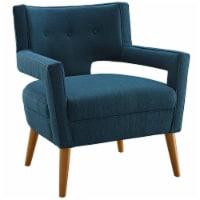 Sheer Upholstered Fabric Armchair - Azure - 1