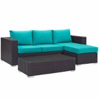 Convene 3 Piece Outdoor Patio Sofa Set - Espresso Turquoise - 1