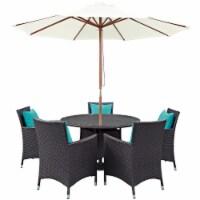 Convene 7 Piece Outdoor Patio Dining Set - Espresso Turquoise