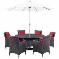 Convene 8 Piece Outdoor Patio Dining Set - Espresso Red - 1