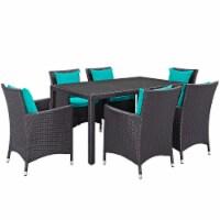 Convene 7 Piece Outdoor Patio Dining Set - Espresso Turquoise - 1