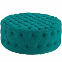 Amour Upholstered Fabric Ottoman, Teal
