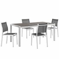 Shore 5 Piece Outdoor Patio Aluminum Dining Set - Silver Black - 1