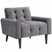 Delve Velvet Armchair - Gray - 1
