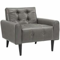 Delve Upholstered Vinyl Accent Chair - Gray - 1