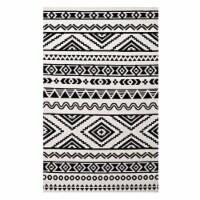 Haku Geometric Moroccan Tribal 5x8 Area Rug, Black and White - 1 unit