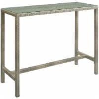 Conduit Outdoor Patio Wicker Rattan Large Bar Table - Light Gray