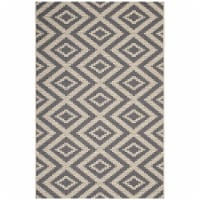 Jagged Geometric Diamond Trellis 8x10 Indoor and Outdoor Area Rug - Gray and Beige
