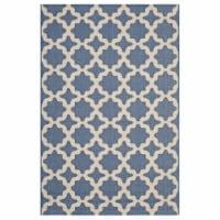 Cerelia Moroccan Trellis 8x10 Indoor and Outdoor Area Rug - Blue and Beige - 1