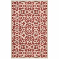 Ariana Vintage Floral Trellis 5x8 Indoor and Outdoor Area Rug - Red and Beige