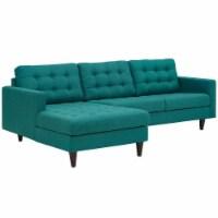Empress Left-Facing Upholstered Fabric Sectional Sofa - Teal - 1