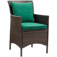 Conduit Outdoor Patio Wicker Rattan Dining Armchair - Brown Green