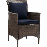 Conduit Outdoor Patio Wicker Rattan Dining Armchair - Brown Navy