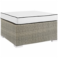 Repose Outdoor Patio Upholstered Fabric Ottoman - Light Gray White - 1