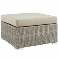 Repose Sunbrella Fabric Outdoor Patio Ottoman - Light Gray Beige - 1